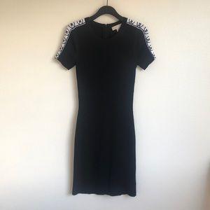 Logo Tape Ribbed Stretch Viscose Dress